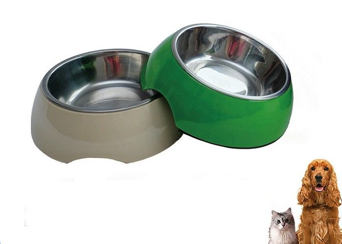 6.93'' Plastic Pet Bowls Custom Made Design Stainless Steel For Dogs With Various Color