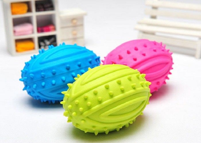 Chew Squeaky Rugby Plastic Pet Toys Three Color TPR Bite Resistant Natural