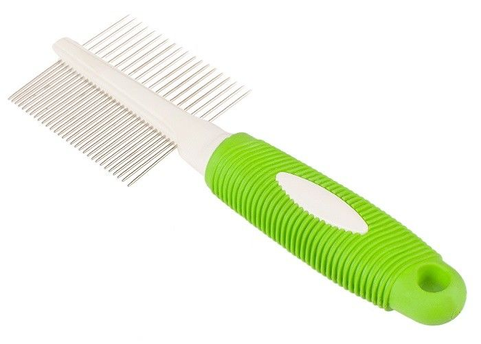Double Side Teeth Steel Pet Comb Green 21 * 6.8CM With Customized Logo Printing