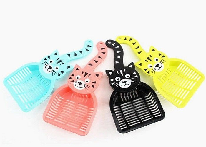 PP Plastic Pet Litter Scoop Poop Cleaning Long Handle With Cute Cat Pattern