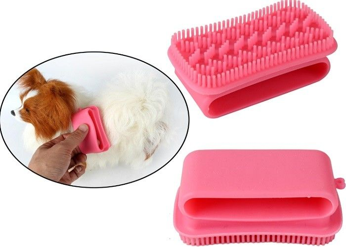 Massage Cleaning Silicone Plastic Pet Products Pink Pet Grooming Brush Custom Printing